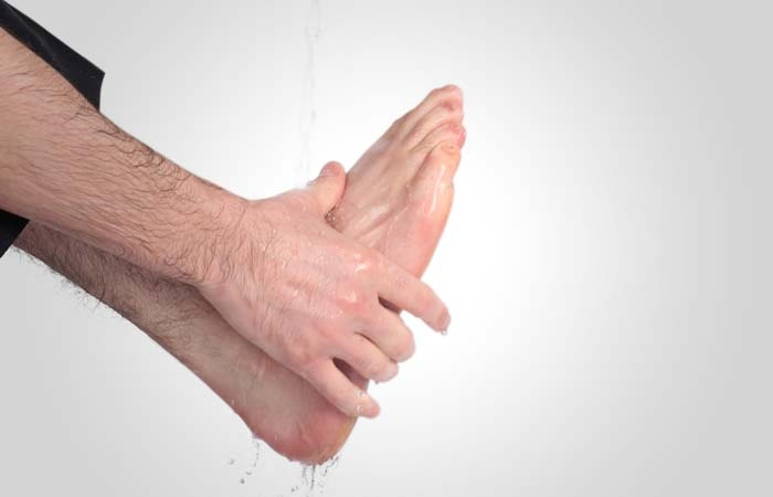 He washes his feet up to the ankles, beginning with the right foot. It is obligatory to wash the feet only once, but it is recommended to wash them three times. If he is wearing a pair of socks, he can wipe over them with wet hands but only under certain conditions. (See page 99)